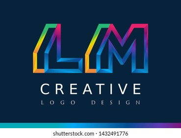 L M Logo. LM Letter Design Vector with Magenta blue and green yellow color