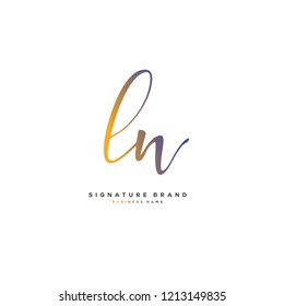 L N LN Initial letter handwriting and  signature logo concept design