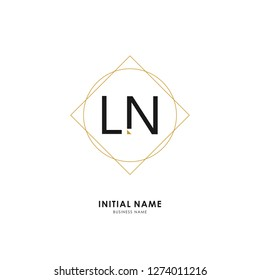L N LN Initial logo letter with minimalist concept. Vector with scandinavian style logo.