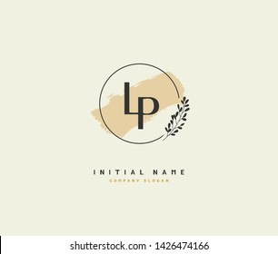 L P LP Beauty vector initial logo, handwriting logo of initial signature, wedding, fashion, jewerly, boutique, floral and botanical with creative template for any company or business.