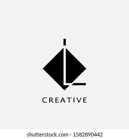 L Polygon Rhombus Geometrical Letter Logo. Monogram color letter logo with polygon geometric vector design concept.