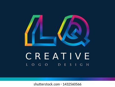 L Q Logo. LQ Letter Design Vector with Magenta blue and green yellow color