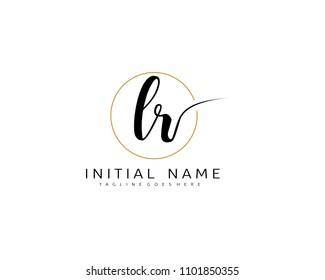 L R Initial handwriting logo vector. Hand lettering for designs.