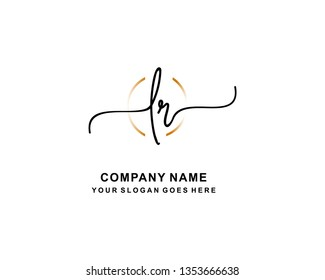 L R Initial Handwriting Logo Template