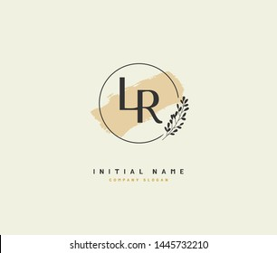 L R LR Beauty vector initial logo, handwriting logo of initial signature, wedding, fashion, jewerly, boutique, floral and botanical with creative template for any company or business.