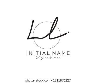 L L Signature initial logo template vector