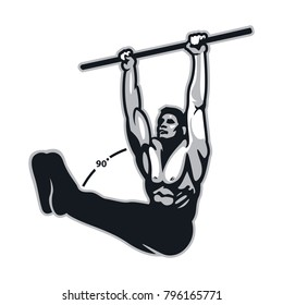 L sit hang on bar calisthenics movement : Layered Vector Illustration - Easy to Edit