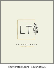 L T LT Beauty vector initial logo, handwriting logo of wedding, fashion, jewerly, heraldic, boutique, floral and botanical with creative template for any company or business.