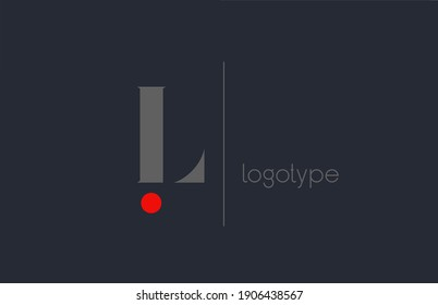 L unique alphabet letter logo for business. Creative corporate identity and lettering in grey blue and red color. Company branding icon design with dot