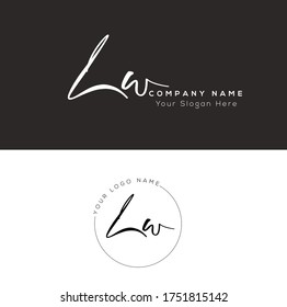 L W LW Initial letter handwriting and signature logo.