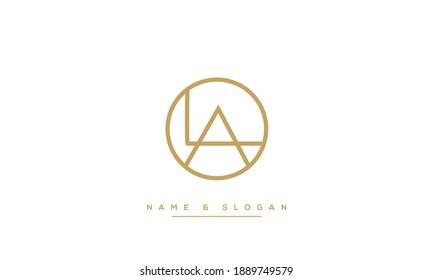 LA, AL Alphabet Letters abstract Logo monogram