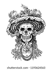 La Calavera Catrina. Elegant woman skeleton. Day of the dead. Spanish Dia de los Muertos. Mexican national holiday. Engraved hand drawn Vintage old monochrome sketch. Vector illustration.
