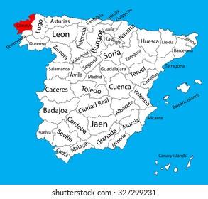 A Coruña Mapa España.Mapa Rioja Espana Stock Vectors Images Vector Art