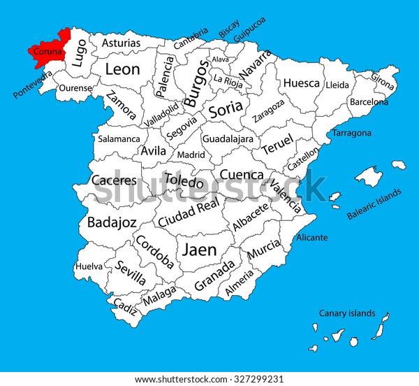 Map Of Spain La Coruna.La Coruna Map Spain Province Vector Stock Vector Royalty Free