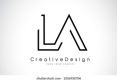 LA L A Letter Logo Design in Black Colors. Creative Modern Letters Vector Icon Logo Illustration.