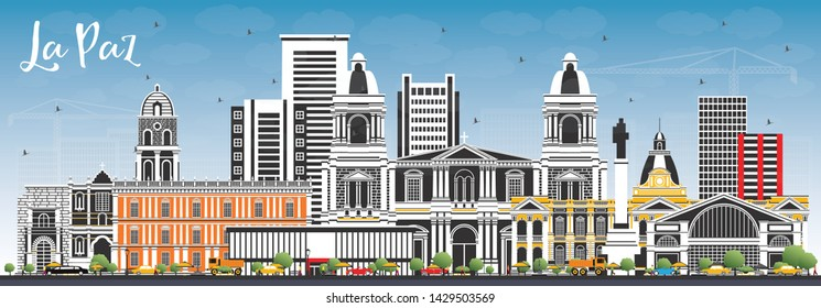 La Paz Bolivia City Skyline with Color Buildings and Blue Sky. Vector Illustration. Business Travel and Tourism Concept with Historic Architecture. La Paz Cityscape with Landmarks.