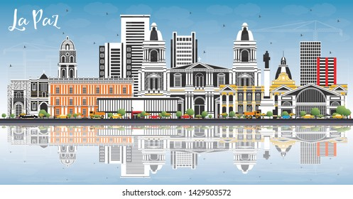 La Paz Bolivia City Skyline with Color Buildings, Blue Sky and Reflections. Vector Illustration. Business Travel and Tourism Concept with Historic Architecture. La Paz Cityscape with Landmarks.