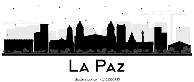 La Paz Bolivia City Skyline Silhouette with Black Buildings Isolated on White. Vector Illustration. Business Travel and Tourism Concept with Historic Architecture. La Paz Cityscape with Landmarks.