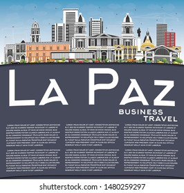La Paz Bolivia City Skyline with Color Buildings, Blue Sky and Copy Space. Vector Illustration. Business Travel and Tourism Concept with Historic Architecture. La Paz Cityscape with Landmarks.
