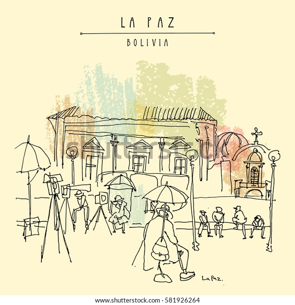 La Paz, Bolivia. Sleepy photographers waiting for customers in a city square in old town. Vintage artistic hand drawn postcard, poster, book illustration in vector