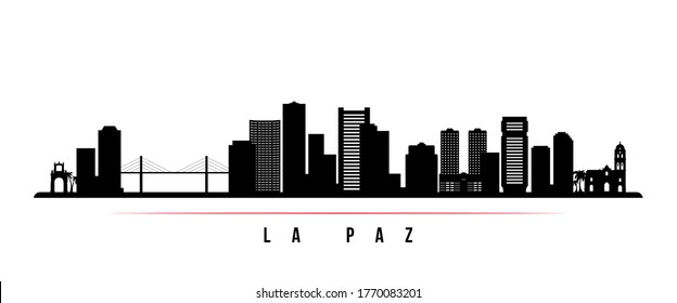 La Paz skyline horizontal banner. Black and white silhouette of La Paz, Bolivia. Vector template for your design.