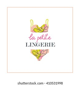 """La petite (little) lingerie"" card with illustration for your design."