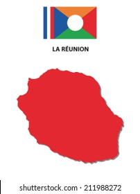 la reunion map with flag