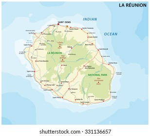 la reunion road and national park map