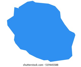 La Reunion vector map, isolated on white background