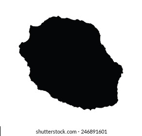 La Reunion vector map silhouette, isolated on white background. High detailed silhouette illustration.