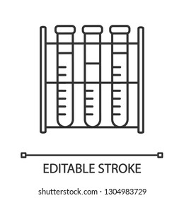 Lab analysis linear icon. Thin line illustration. Blood test. Laboratory diagnostics. Test tubes rack. Contour symbol. Vector isolated outline drawing. Editable stroke