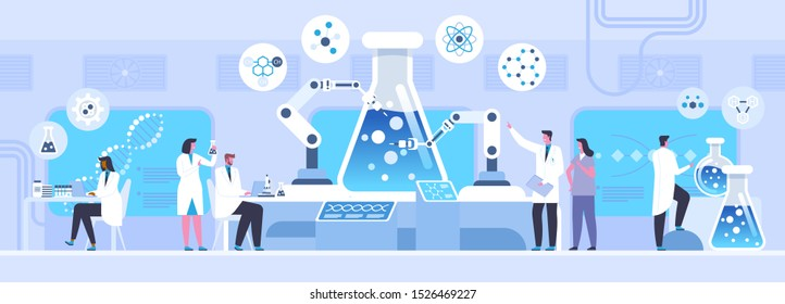 Lab chemical experiment flat vector illustration. Male and female scientists, chemists cartoon characters. Nanotechnology, microbiology science. Futuristic medical innovation, laboratory research