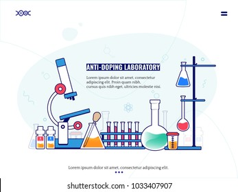 lab chemical research process. Doping agency experiment, laboratory concept. vector illustration in flat design