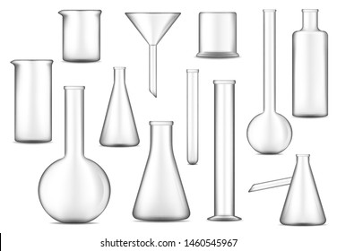Lab glass vector design of chemical laboratory test tubes, flasks and beakers. Glassware equipment 3d illustration of chemistry, biology, medicine and pharmacy research technology, scientist tools
