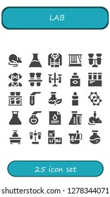 lab icon set. 25 filled lab icons. Simple modern icons about  - Rat, Flasks, Coat, Momentum, Test tube, Mad scientist, Test tubes, Eye dropper, Chemical, Flask, Molecule, Florence flask