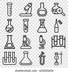 Lab icons set. set of 16 lab outline icons such as test tube, microscope, ampoule, heart test tube