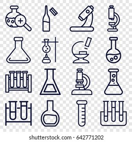 Lab icons set. set of 16 lab outline icons such as test tube, microscope, ampoule