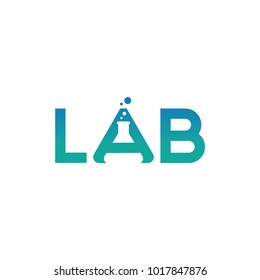 Lab logo template vector design with negative space logotype