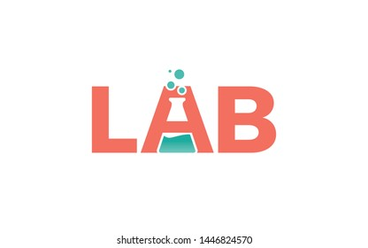 Lab logo in word mark style forms a negative space of chemical bottles in letter A