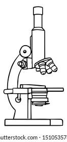 Lab Microscope Line Drawing - Vector Illustration