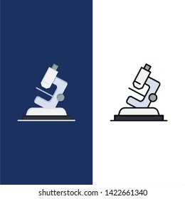 Lab, Microscope, Science, Zoom  Icons. Flat and Line Filled Icon Set Vector Blue Background