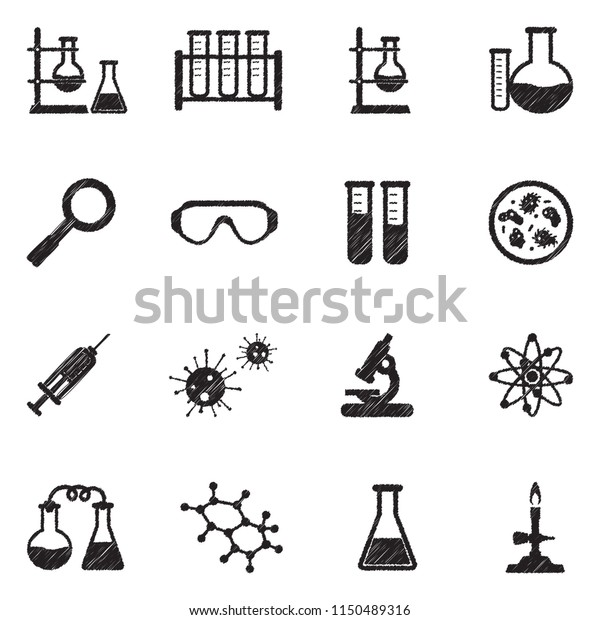 Lab Research Icons Black Scribble Design Stock Vector