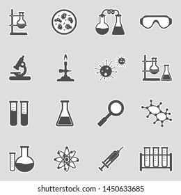 Lab And Research Icons. Sticker Design. Vector Illustration.