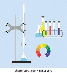 Lab setup - burette for acid-base titration