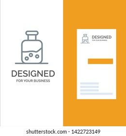 Lab, Test, Science, Bottle Grey Logo Design and Business Card Template