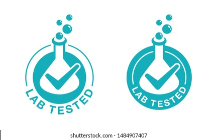 Lab tested sign in 2 variations - circular certificated proven stamp with check mark and laboratory flask in monochrome style