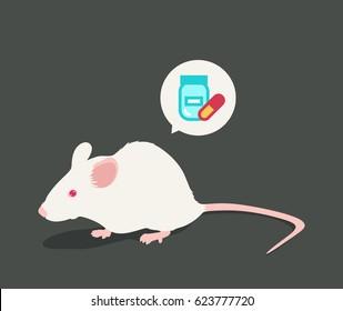 Lab white rat vector illustration: Pills