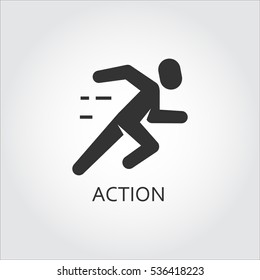 Label of action or activity as running man, runner. Simple black icon. Logo drawn in flat style. Black shape pictograph for your design needs. Vector contour silhouette on white background.