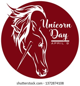 The label for April 8 is the Day of the Unicorn, a mystical creature from the legends.