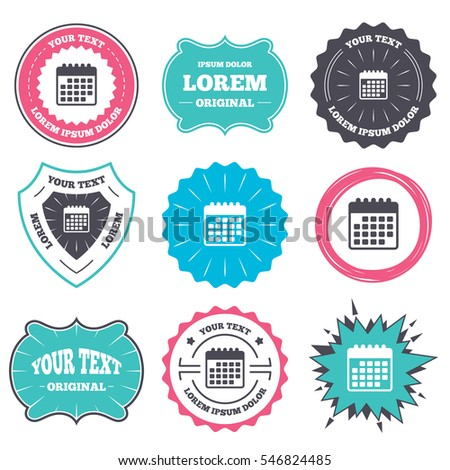 Label Badge Templates Calendar Icon Event Stock Vektorgrafik